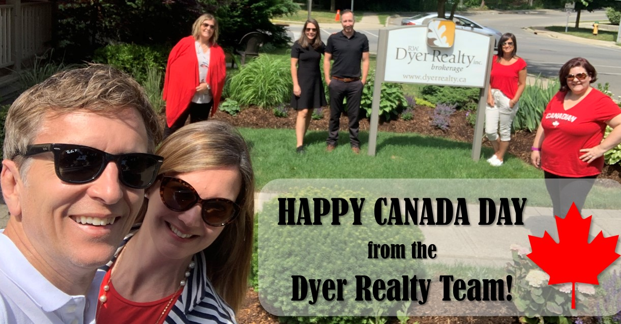 The Dyer Team Stands 6 feet apart to celebrate Canada Day 2020